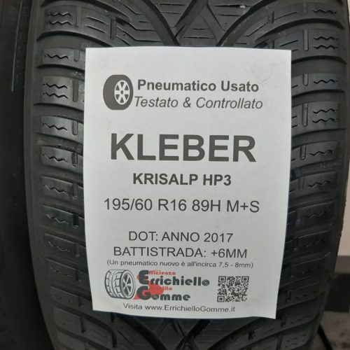 195/60 R16 89H M+S Kleber Krisalp HP3 –  70% +6mm – Gomme Invernali