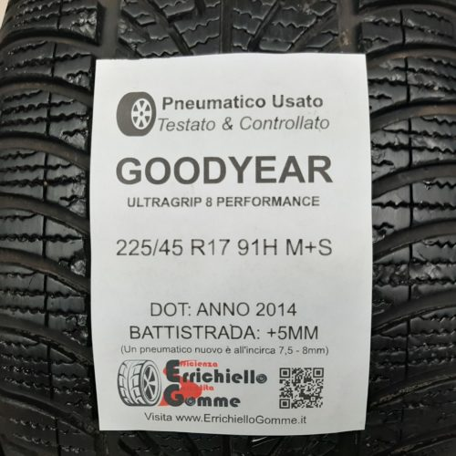 225/45 R17 91H M+S Goodyear UltraGrip 8 Performance + 60% +5mm – Gomme Invernali