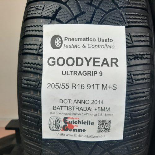 205/55 R16 91T M+S Goodyear UltraGrip 9 –  60% +5mm – Gomme Invernali