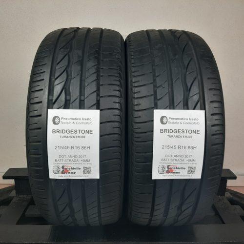 215/45 R16 86H Bridgestone Turanza ER300 – 60% +5mm – Gomme Estive