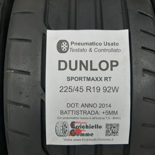 225/45 R19 92W Dunlop SportMaxx RT – 60% +5mm – Gomme Estive