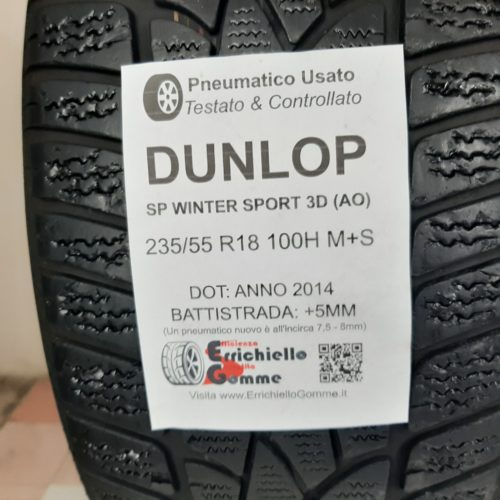235/55 R18 100H M+S Dunlop SP Winter Sport 3D (AO) –  60% +5mm – Gomme Invernali