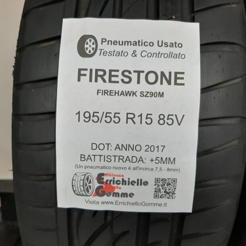 195/55 R15 85V Firestone FireHawk SZ90M + 60% +5mm Gomme Estive