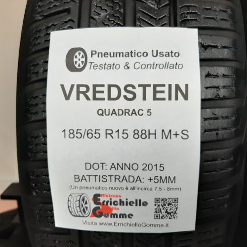 185/65 R15 88H M+S Vredstein Quadrac 5 + 60% +5mm – Gomme 4 Stagioni