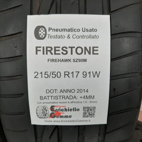 215/50 R17 91W Firestone Firehawk SZ90M + 50% +4mm Gomme Estive