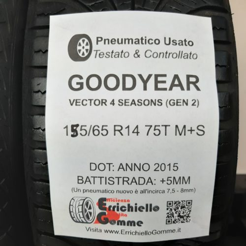 155/65 R14 75T M+S Goodyear Vector 4 Seasons (GEN 2) + 60% +5mm – Gomme 4 Stagioni