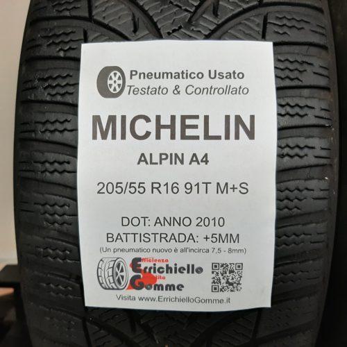 205/55 R16 91T M+S Michelin Alpin A4 – 60% +5mm – Gomme Invernali