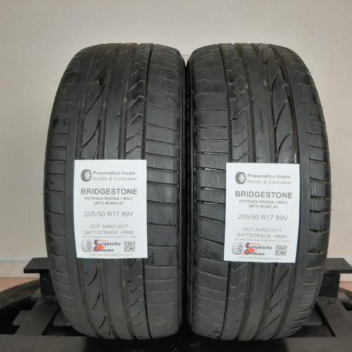 205/50 R17 89V Bridgestone Potenza RE050 I (RSC) (RFT) Runflat –  70% +6mm – Gomme Estive
