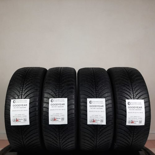205/55 R16 91V M+S Goodyear Vector 4 Seasons  – 50/60% +4/5mm Gomme 4 Stagioni
