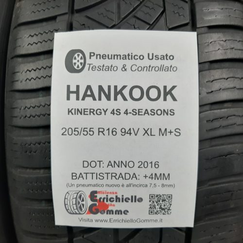 205/55 R16 94V XL M+S Hankook Kinergy 4S 4-Seasons  + 50% +4mm – Gomme 4 Stagioni