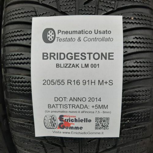 205/55 R16 91H M+S Bridgestone Blizzak LM 001 – 60% +5mm – Gomme Invernali