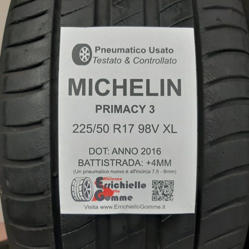 225/50 R17 98V XL Michelin Primacy 3 – 60% +5mm – Gomme Estive
