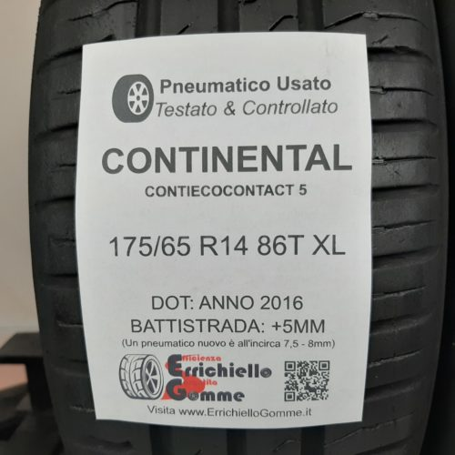 175/65 R14 86T XL Continental ContiEcoContact 5 – 60% +5mm – Gomme Estive