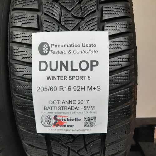205/60 R16 92H M+S Dunlop Winter Sport 5 – 60% +5mm – Gomme Invernali