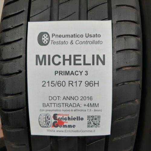 215/60 R17 96H Michelin Primacy 3 – 50% +4mm – Gomme Estive