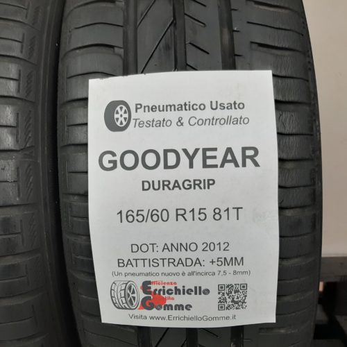 165/60 R15 81T Goodyear Duragrip – 60% +5mm – Gomme Estive