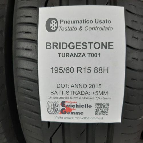 195/60 R15 88H Bridgestone Turanza T001 – 60% +5mm – Gomme Estive