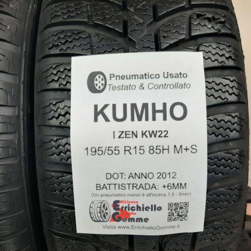 195/55 R15 85H M+S Kumho I-Zen KW22 – 70% +6mm – Gomme Invernali