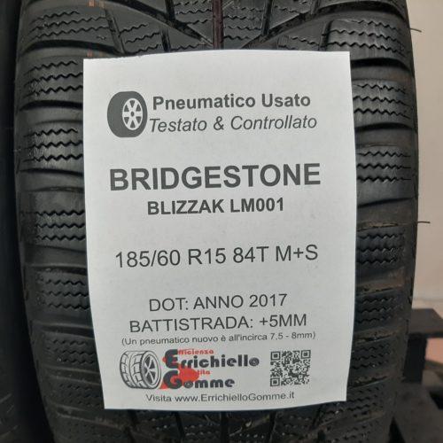 185/60 R15 84T M+S Bridgestone Blizzak LM001 – 60% +5mm Gomme Invernali