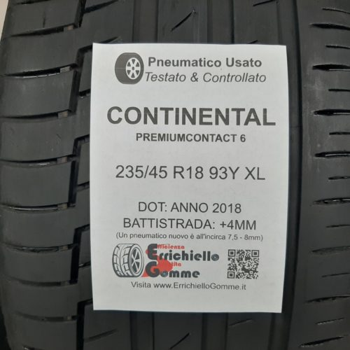 235/45 R18 93Y XL Continental PremiumContact 6 – 50% +4mm – Gomma Estiva