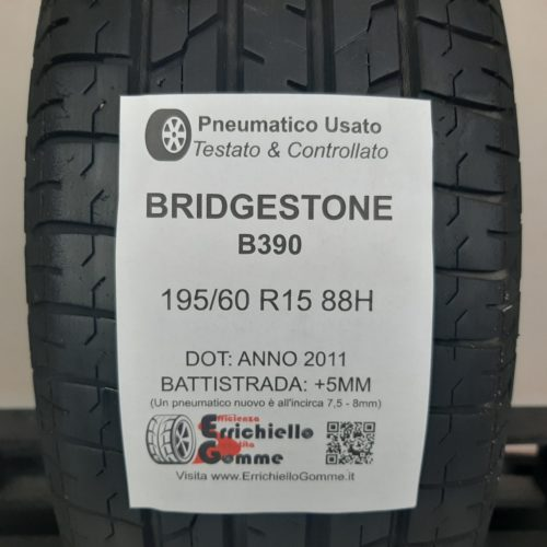 195/60 R15 88H Bridgestone B390 – 60% +5mm – Gomma Estiva
