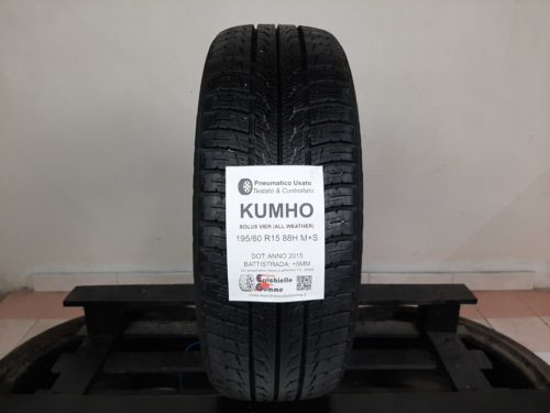 195/60 R15 88H M+S Kumho Solus Vier (All Weather)  – 60% +5mm – Gomma 4 Stagioni