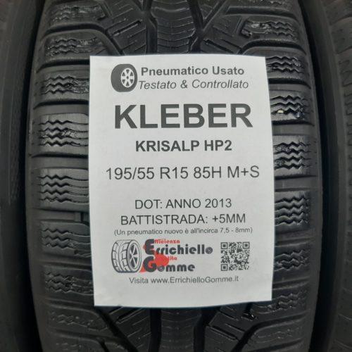 195/55 R15 85H M+S Kleber Krisalp HP2 – 60/70% +5/6mm – Gomme Invernali