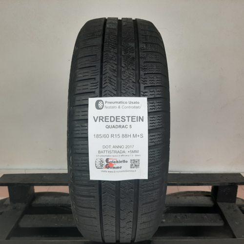 185/60 R15 88H M+S Vredstein Quadrac 5 –  60% +5mm – Gomma 4 Stagioni