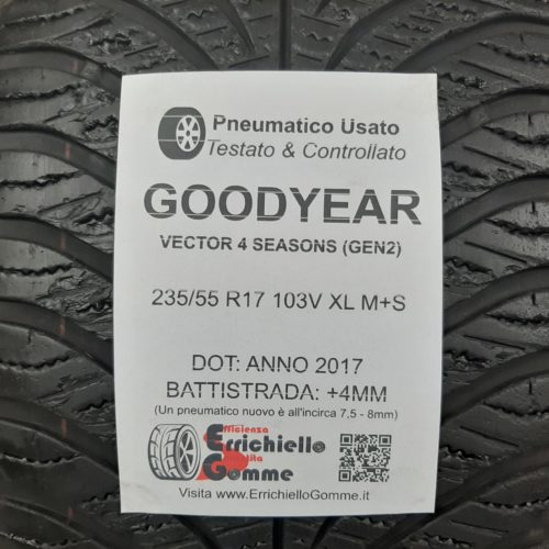 235/55 R17 103V XL M+S Goodyear Vector 4 Seasons (GEN 2) – 50% +4mm Gomme 4 Stagioni