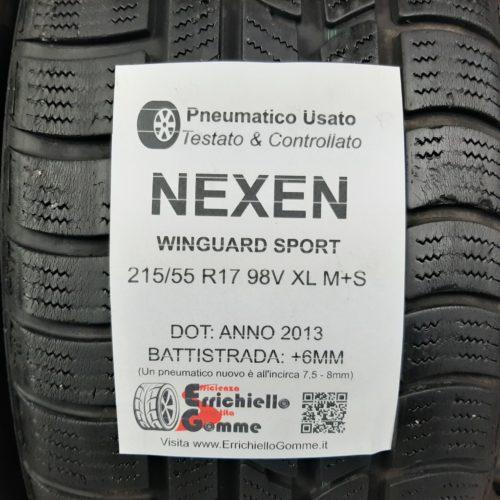 215/55 R17 98V XL M+S Nexen Winguard Sport – 70% +6mm – Gomme Invernali