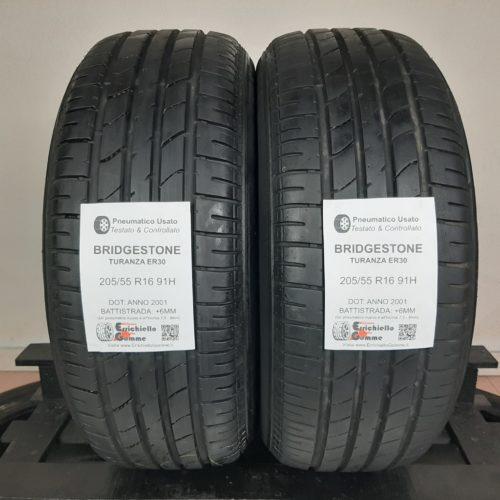 205/55 R16 91H Bridgestone Turanza ER30 –  70% +6mm – Gomme Estive