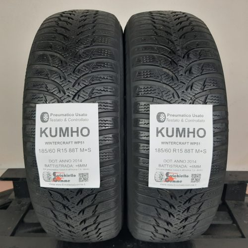 185/60 R15 88T M+S Kumho WinterCraft WP51 –  70% +6mm – Gomme Invernali