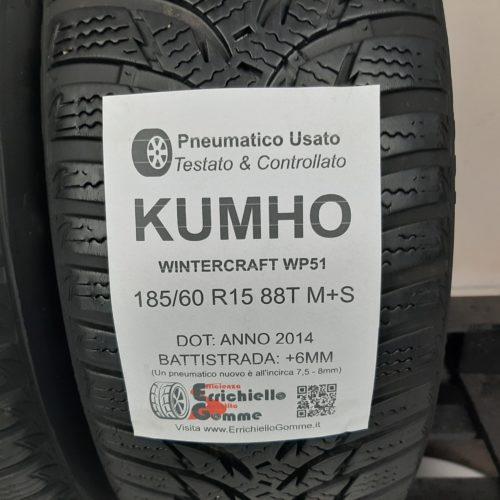 185/60 R15 88T M+S Kumho WinterCraft WP51 –  70% +6mm – Gomme Invernali