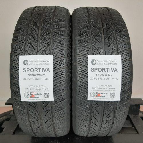 205/55 R16 91T M+S Sportiva Snow Win 2 –  50% +4mm Gomme Invernali