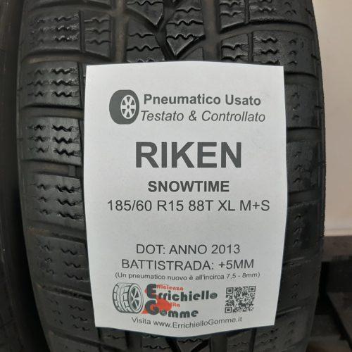 185/60 R15 88T XL M+S Riken SnowTime – 60% +5mm – Gomme Invernali