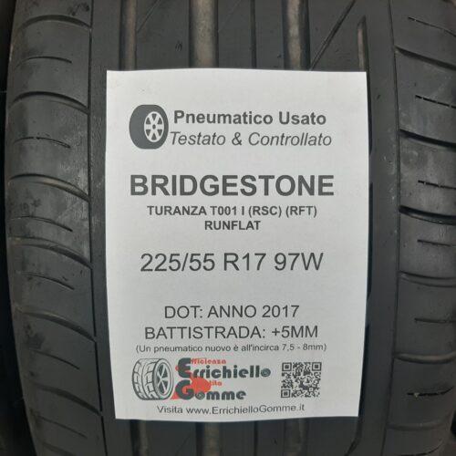 225/55 R17 97W Bridgestone Turanza T001 (RSC) (RFT) Runflat – 60% +5mm – Gomme Estive