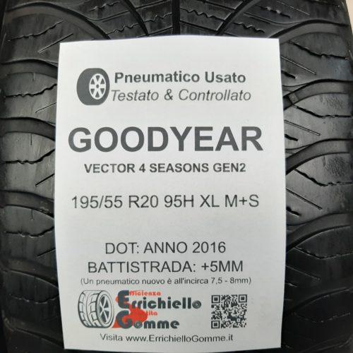 195/55 R20 95H XL M+S Goodyear Vector 4 Seasons GEN2 – 60% +5mm – Gomme 4 Stagioni