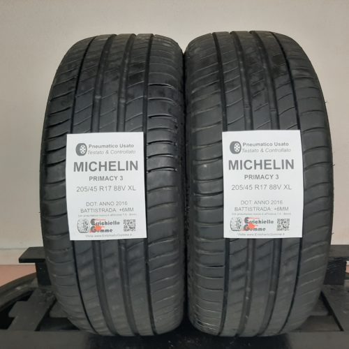 205/45 R17 88V XL Michelin Primacy 3  – 70% +6mm – Gomme Estive