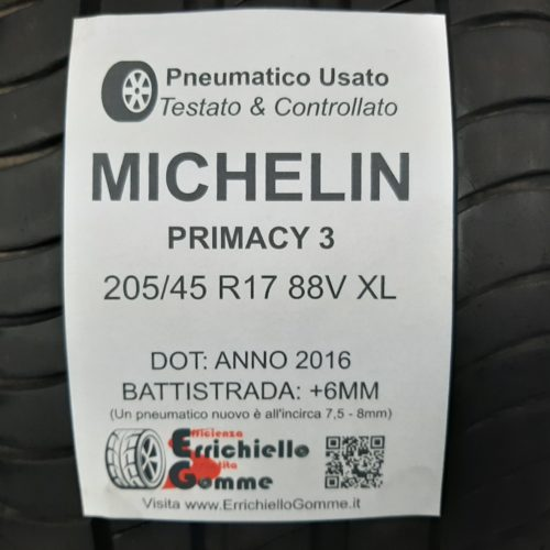 205/45 R17 88V XL Michelin Primacy 3  – 70% +6mm – Gomme Estive