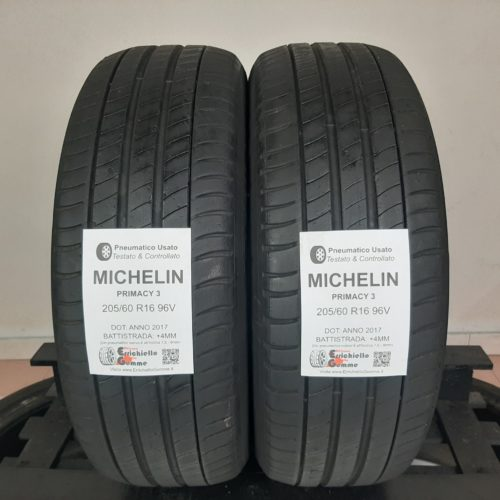 205/60 R16 96V Michelin Primacy 3 –  50% +4mm – Gomme Estive
