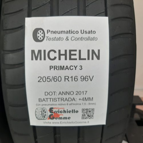 205/60 R16 96V Michelin Primacy 3 –  50% +4mm – Gomme Estive