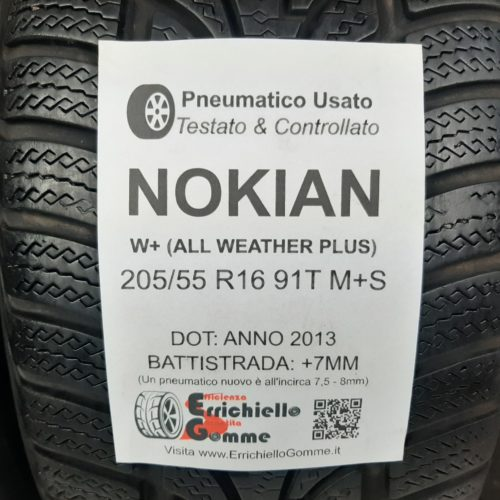 205/55 R16 91T M+S Nokian W+ (All Weather Plus) – 60% +5mm – Gomme 4 Stagioni