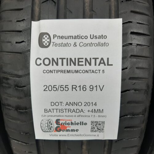 205/55 R16 91V Continental ContiPremiumContact 5 – 50/60% +4/5mm – Gomme Estive