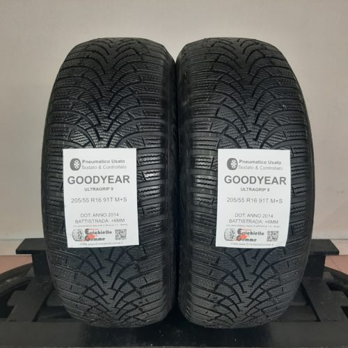 205/55 R16 91T M+S Goodyear UltraGrip 9 – 70% +6mm – Gomme Invernali