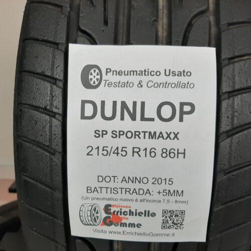 215/45 R16 86H Dunlop SportMaxx –  60% +5mm – Gomme Estive