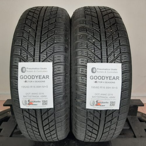 195/60 R16 89H M+S Goodyear Vector 4 Seasons –  70% +6mm – Gomme 4 Stagioni