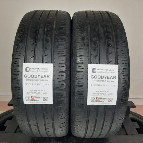 215/55 R18 99V XL M+S Goodyear EfficientGrip SUV 4×4 – 50% +4mm – Gomme Estive