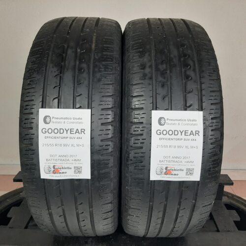 215/55 R18 99V XL M+S Goodyear EfficientGrip SUV 4×4 – 50% +4mm – Gomme Estive