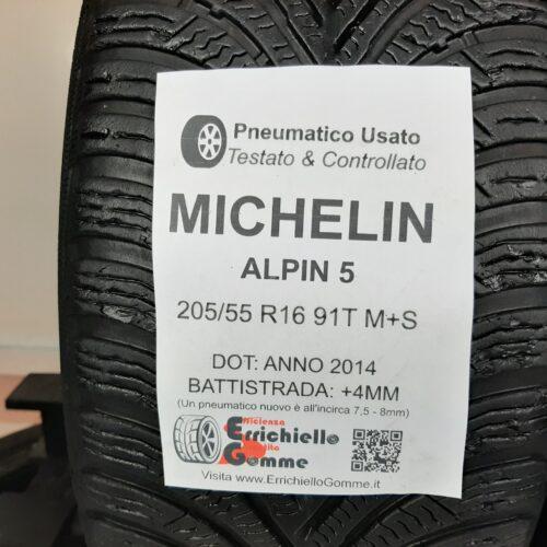 205/55 R16 91T M+S Michelin Alpin 5 – 50% +4mm Gomme Invernali
