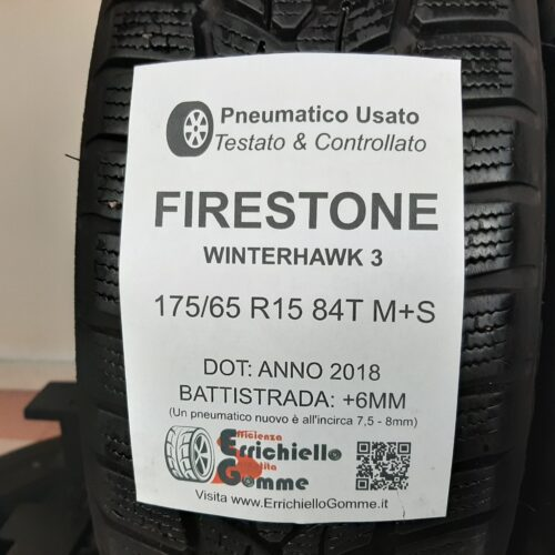 175/65 R15 84T M+S Firestone WinterHawk 3 –  70% +6mm – Gomme Invernali